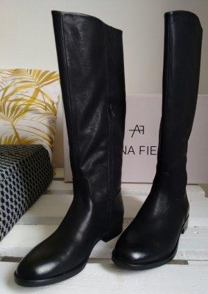bequeme schwarze Stiefel im Vintage-Style - NEUWARE!