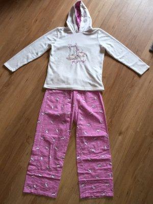 Pyjama wit-roze