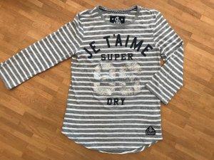 Superdry Camisa de rayas color plata-blanco