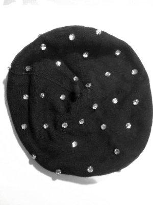Beret/ Baskenmütze aus Strick mit Strass von Sonia Rykiel für H&M, neuwertig