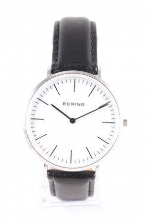 Bering Watch With Leather Strap black-silver-colored classic style