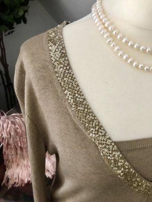Bernd Berger Sommer Pullover Seide Kashmir braun Gold Gr. 40