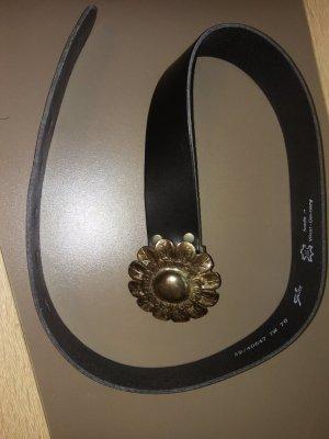 Bernd Götz Cinturón de cuero negro-color plata Cuero