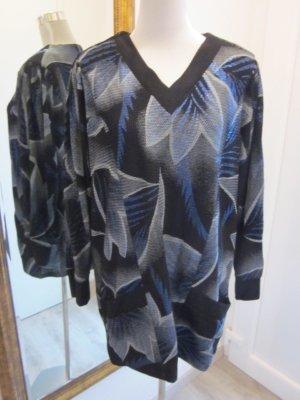 Bernd Linek Long Pullover Vintage #Retro Metalic schwarz blau Gr 48