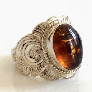Bernstein Amber 925 Silber Ring Silberring Juwelierstück Meisterpunze