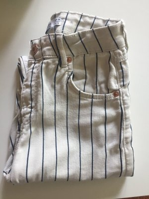 Bershka Jeans taille haute blanc-bleu