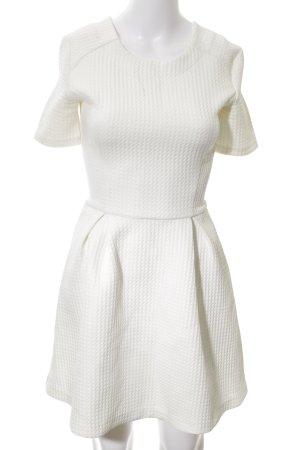 Bershka A-Linien Kleid weiß Allover-Druck Elegant