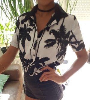 Bershka Camiseta estampada blanco-negro Seda