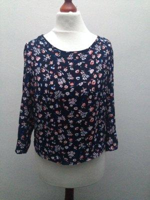 Bershka Blumen Bluse Rückenausschnitt Blogger XS 32 34