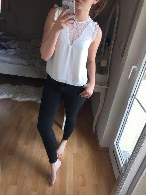 Bershka Mouwloze blouse wit-zilver