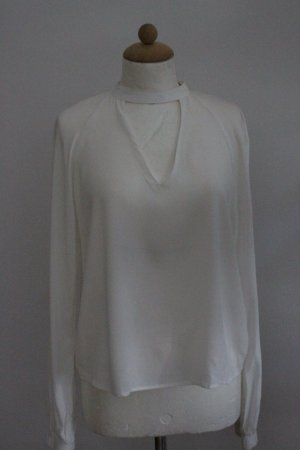Bershka Long Sleeve Blouse white viscose