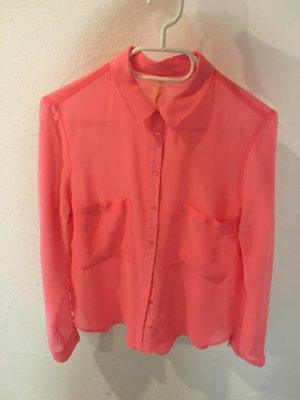 Bershka bluse Hemd pink Lachs koralle transparent durchsichtig neon