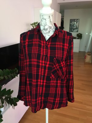 Bershka Bluse kariert schwarz rot Gr M