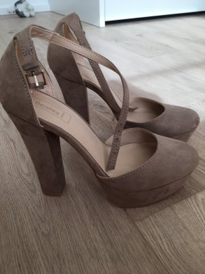 Bershka High-Heeled Sandals nude-beige