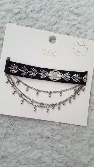 Bershka Choker Set Ketten Perlenbestickt Silbern Leder