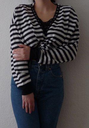 Bershka Jersey con cuello de pico negro-blanco