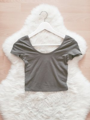 Bershka Crop Top Blogger Shirt Khaki Gr.XS