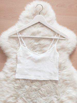 Bershka Crop Top Blogger Shirt Rippstoff V-Ausschnitt Gr.XS