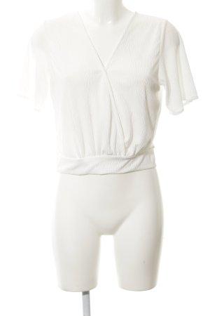Bershka Cropped Shirt weiß Casual-Look