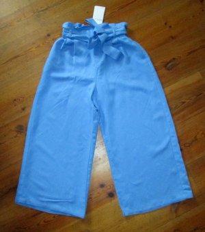 Bershka Culotte blau Leinen Paperbag-Hose Gr. M neu
