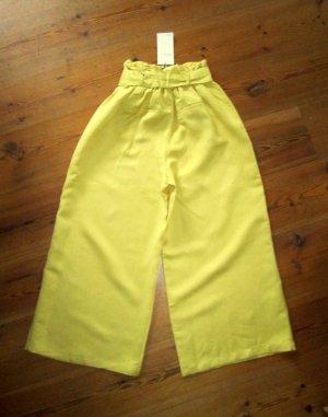 Bershka Culotte Paperbag-Hose mit Leinen gelb Gr. M neu