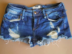 Bershka Denim Destroyed Jeans Shorts dunkelblau Gr 38 Bundweite ca. 36 cm
