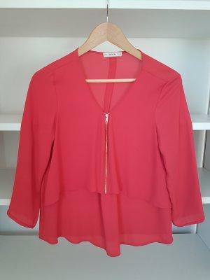 Bershka Camisa con cuello V color oro-rojo neón