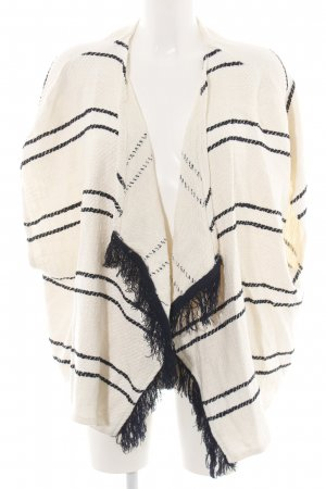 Bershka Fringed Vest natural white-black striped pattern casual look