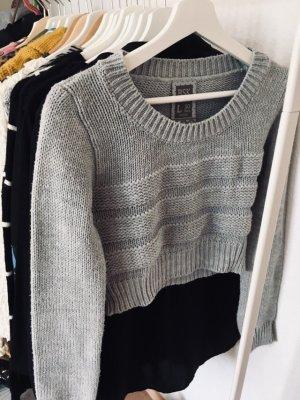Bershka grau blau Pullover Cropped Gr S-M