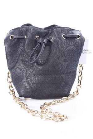 Bershka Handtasche schwarz-goldfarben abstraktes Muster Casual-Look