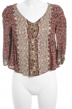 Bershka Shirt Blouse dark red-cream Aztec pattern Aztec print