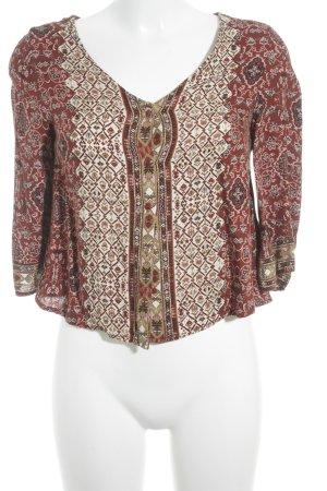 Bershka Hemd-Bluse dunkelrot-creme Aztekenmuster Ethno-Look