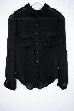 Bershka Hemd Bluse Schwarz luftig Basic Military style militär