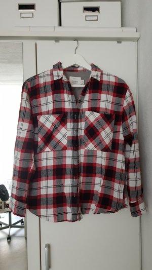 Bershka Long Sleeve Shirt black-carmine