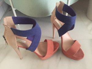 Bershka high heels Plateau blau rose nude 37 wie neu