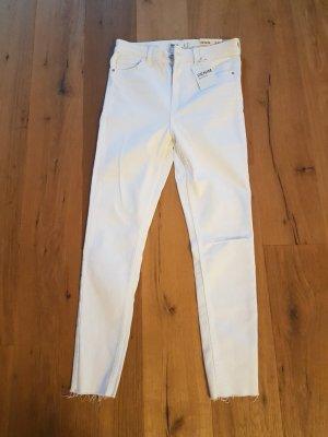 Bershka Drainpipe Trousers white