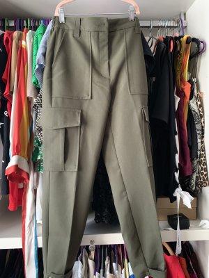 Bershka Pantalón de color caqui verde oliva-gris verdoso