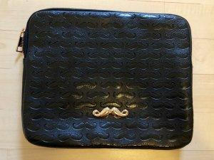 Bershka iPad Tasche hülle Clutch Tasche schwarz Moustache Schnurrbart