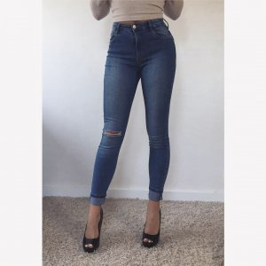 Bershka High Waist Jeans steel blue