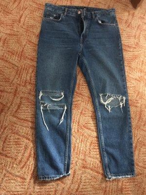 Bershka Jeans vita bassa blu