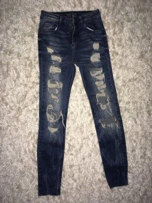 Bershka Hoge taille jeans donkerblauw