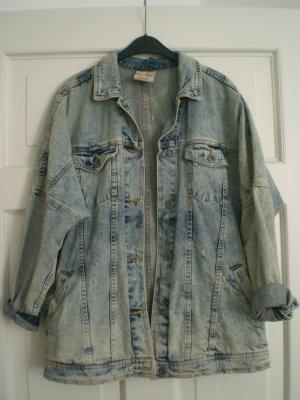 Bershka Denim Jacket blue-white cotton