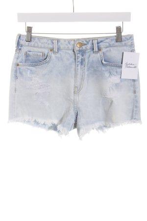 Bershka Denim Shorts pale blue distressed style