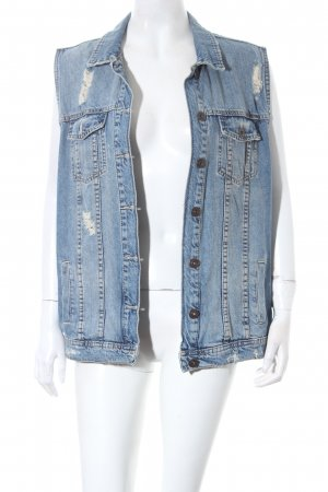 Bershka Jeansweste blau Destroy-Optik