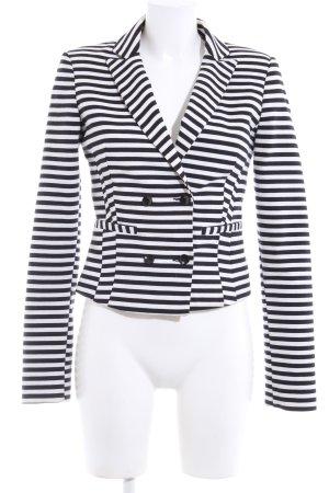 Bershka Jerseyblazer schwarz-weiß Streifenmuster Casual-Look