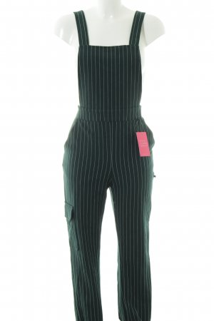 Bershka Jumpsuit dunkelgrün-weiß Streifenmuster Street-Fashion-Look