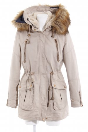 Bershka Hooded Coat beige-light brown simple style