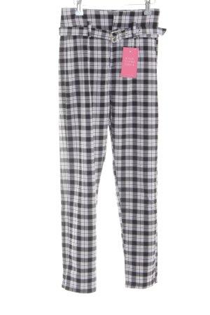 Bershka Peg Top Trousers black-white check pattern casual look