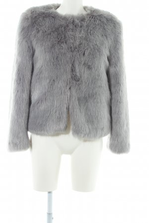 Bershka Fake Fur Jacket grey street-fashion look