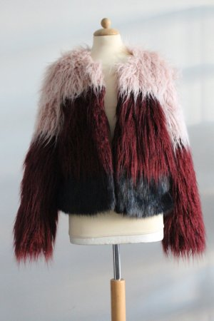Bershka Fur Jacket multicolored polyester